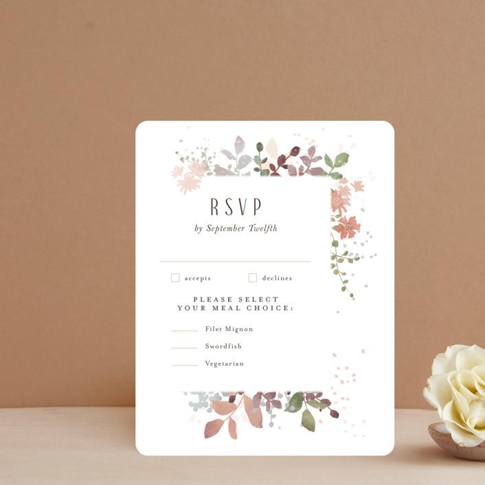 """""""Wesleyan Hill"""" - Rsvp Cards in Wildflower by Jennifer Wick."""