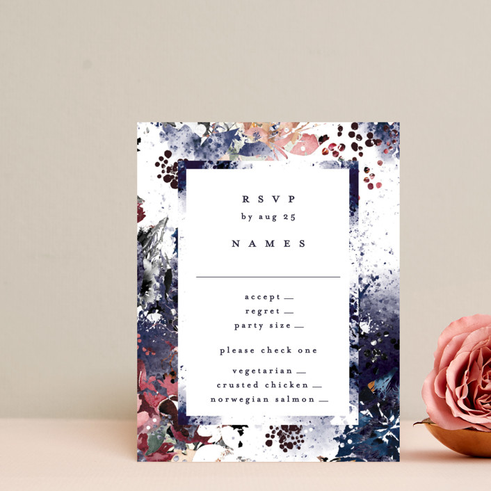 """Floral Cascade"" - Rsvp Cards in Navy by Phrosne Ras."