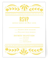 This is a yellow rsvp card by Jessie Steury called Pretty Picado with standard printing on signature in standard.