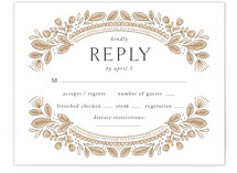 This is a brown rsvp card by Jen Owens called Charmed with standard printing on signature in standard.