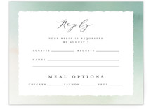 This is a green rsvp card by Petra Kern called The Field Of Love with standard printing on signature in standard.