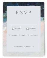 This is a blue rsvp card by Nicole Walsh called Evelyn with standard printing on signature in standard.