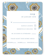 This is a blue rsvp card by Morgan Ramberg called The Love Birds with standard printing on signature in standard.