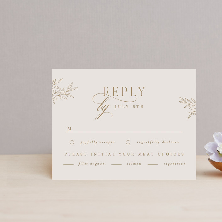 """""""Emblem"""" - Rsvp Cards in Champagne by Everett Paper Goods."""