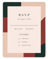 This is a green rsvp card by Jen Banks of Ink and Letter called Archway with standard printing on signature in standard.