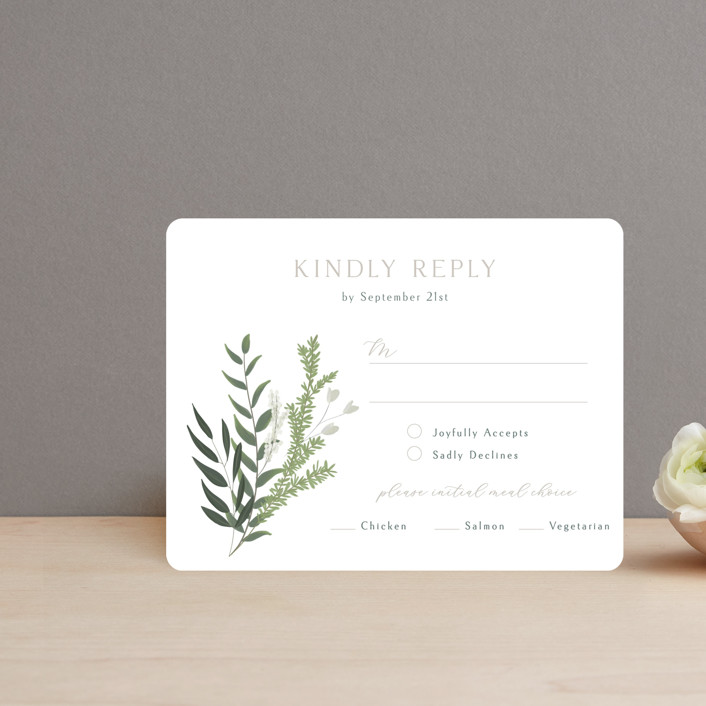 """""""Collection"""" - Rsvp Cards in Blanco by Kaydi Bishop."""
