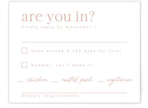 This is a pink rsvp card by Caitlin Considine called Party Accordingly with standard printing on signature in standard.