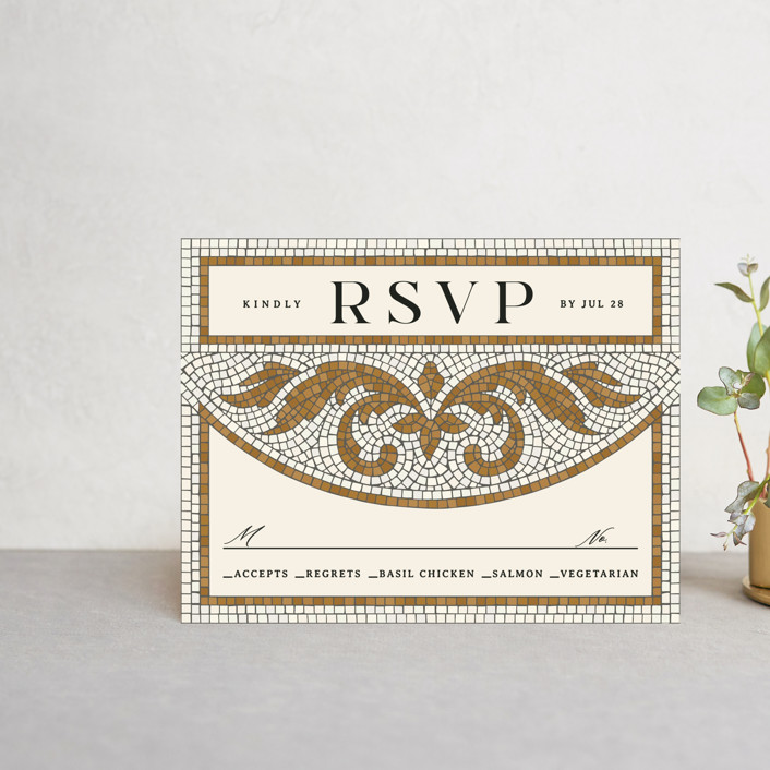 """Floral mosaic"" - Vintage Rsvp Cards in Sand by GeekInk Design."
