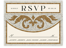 This is a brown rsvp card by GeekInk Design called Floral mosaic with standard printing on signature in standard.