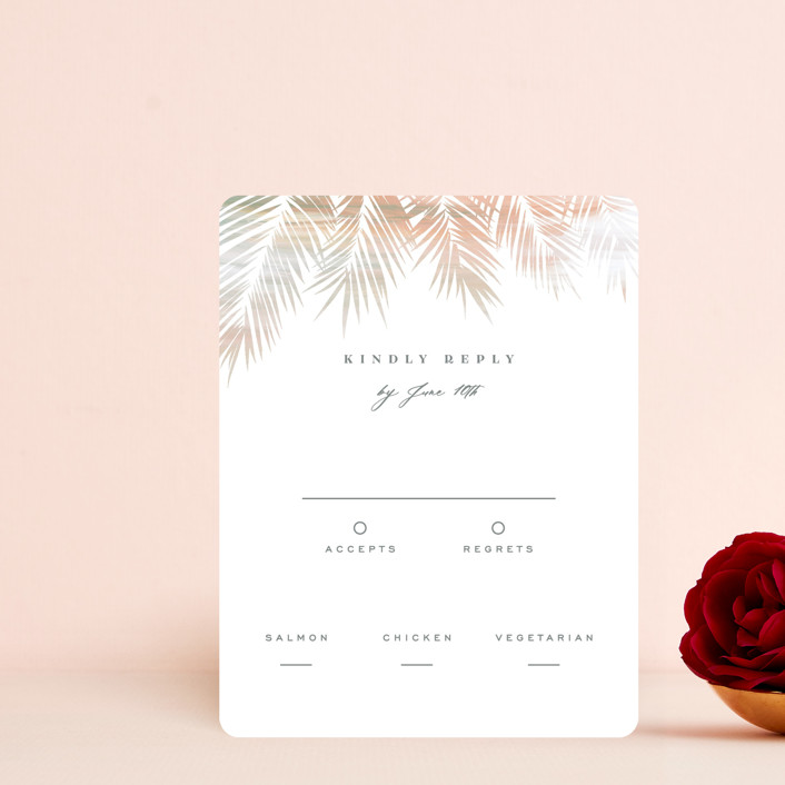 """""""Painted Leaves"""" - Bohemian Rsvp Cards in Coconut by Owl and Toad."""