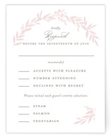 This is a pink rsvp card by Kimberly FitzSimons called Gathered with standard printing on signature in standard.
