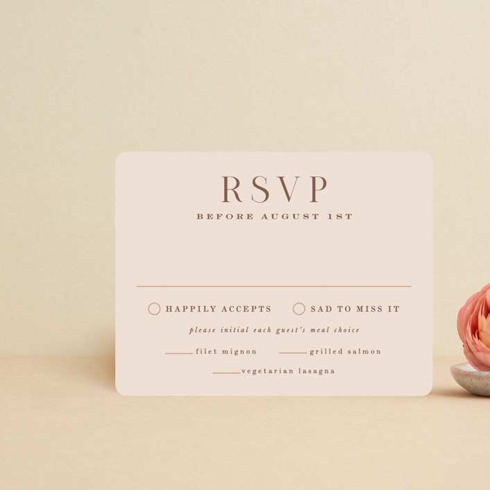 """""""Everly"""" - Rsvp Cards in Desert Rose by Hooray Creative."""