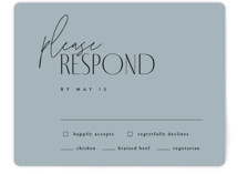 This is a blue rsvp card by Kelly Schmidt called Layered with standard printing on signature in standard.