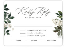 This is a green rsvp card by Everett Paper Goods called Grove with standard printing on signature in standard.