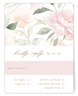 This is a white rsvp card by Phrosne Ras called beautiful peonies with standard printing on signature in standard.