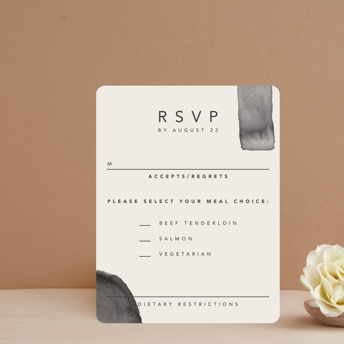 """Midtown"" - Modern Rsvp Cards in Stone by Caitlin Considine."
