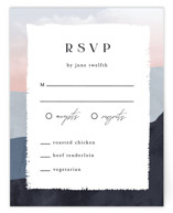 This is a blue rsvp card by Pixel and Hank called scene with standard printing on signature in standard.