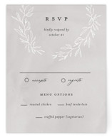 This is a grey rsvp card by Pixel and Hank called Abundant Wreath with standard printing on signature in standard.