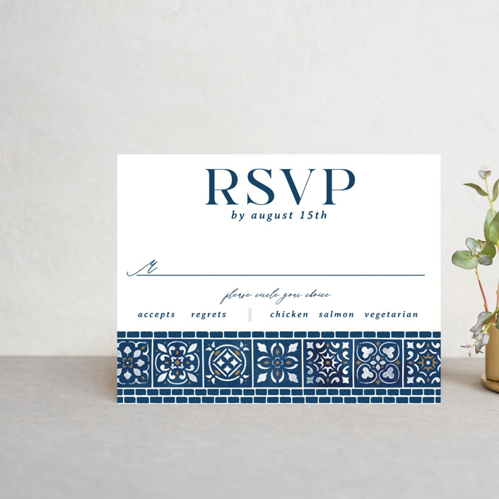 """""""Mediterranean Tiles"""" - Rsvp Cards in Ocean by GeekInk Design."""