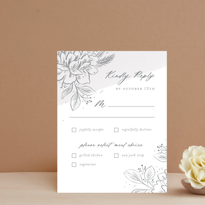"""""""Loving"""" - Rsvp Cards in Cloudy by Paper Raven Co.."""