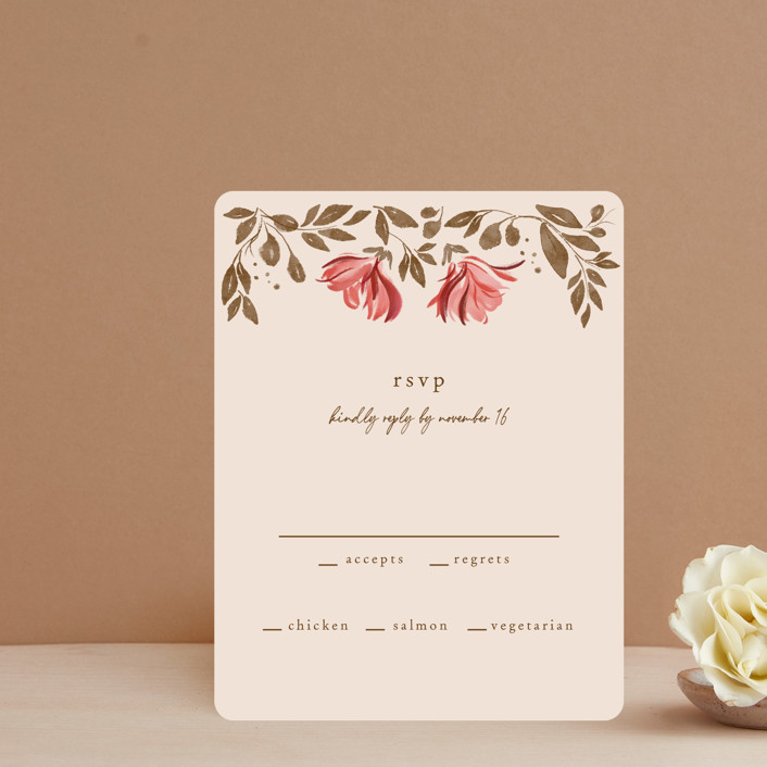 """Painterly Florals"" - Rsvp Cards in Scarlet by Vivian Yiwing."