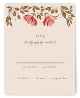 This is a red rsvp card by Vivian Yiwing called Painterly Florals with standard printing on signature in standard.