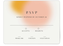 This is a yellow rsvp card by Sarah Lenger called Blend with standard printing on signature in standard.
