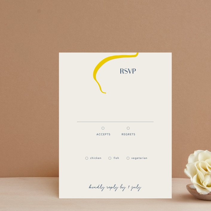 """""""Ophelia"""" - Modern Rsvp Cards in Golden by Mere Paper."""