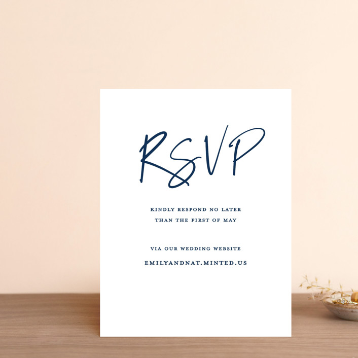 """""""Semi Formal"""" - Rsvp Online Enclosure Cards in Navy by Kerry Doyle - Paper Dahlia."""