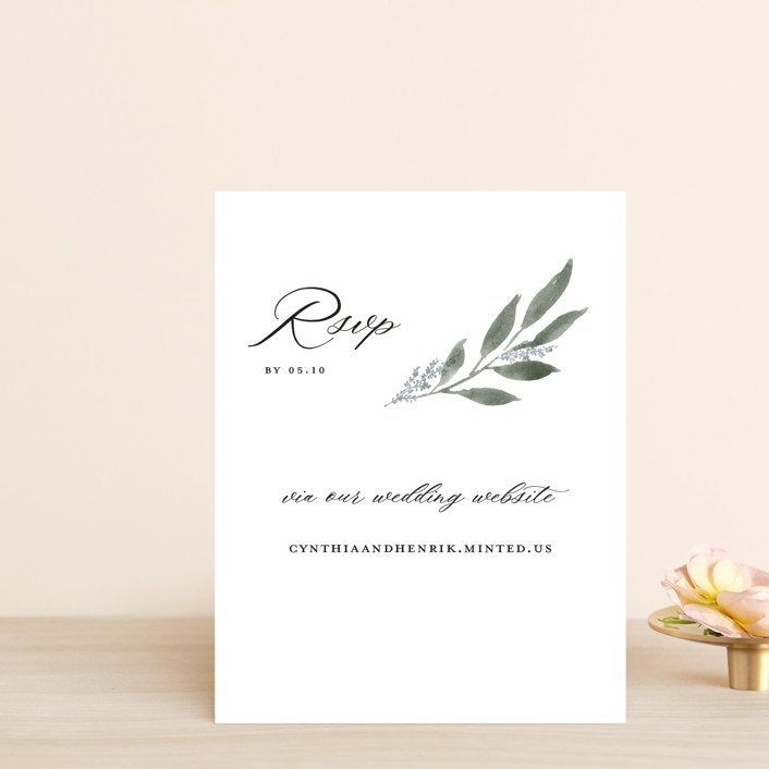 """""""Pressed Foliage"""" - Rsvp Online Enclosure Cards in Heather by Stacey Meacham."""