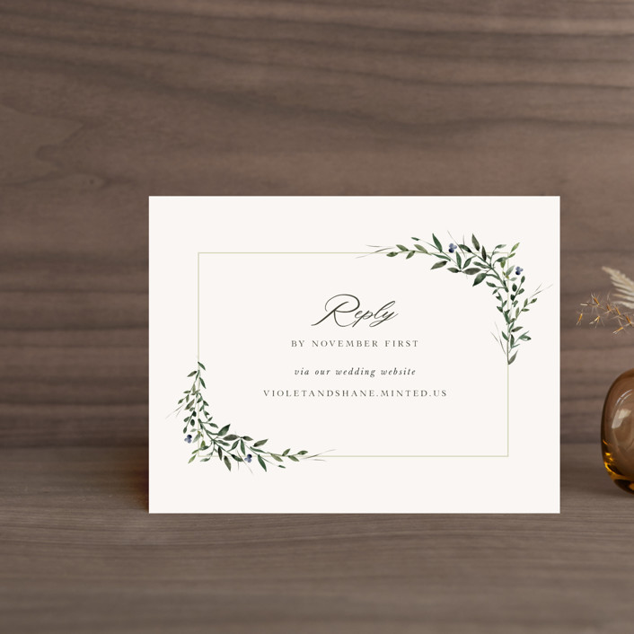 """""""Green Wreath"""" - Rsvp Online Enclosure Cards in Champagne by Lori Wemple."""