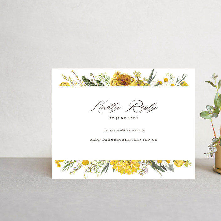 """""""Organic Florals"""" - Rsvp Online Enclosure Cards in Honey by Susan Moyal."""