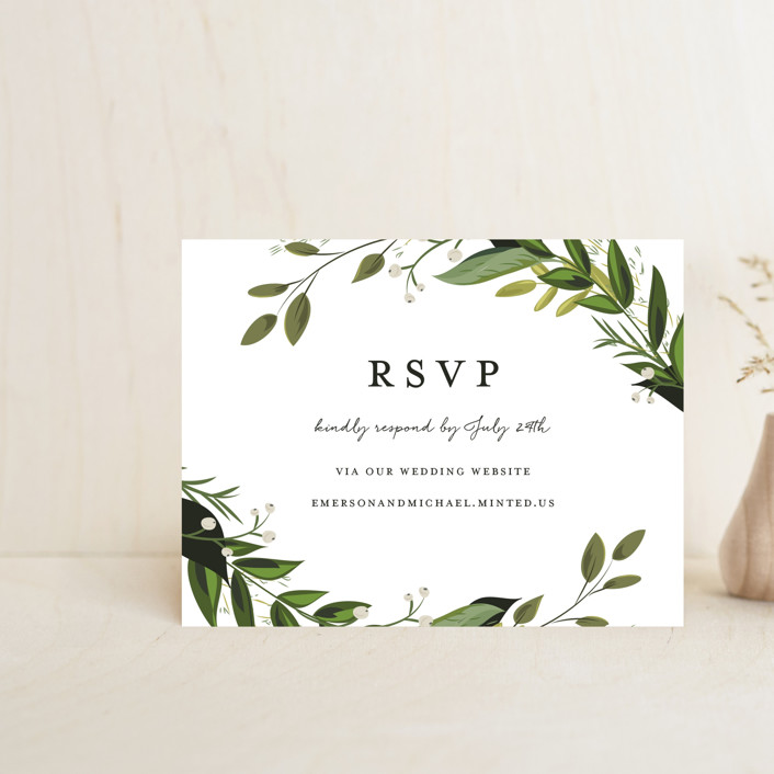 """Vines of Green"" - Rsvp Online Enclosure Cards in Fern by Susan Moyal."