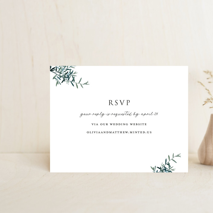"""Fresh Sage"" - Rsvp Online Enclosure Cards in Olive by Christie Kelly."