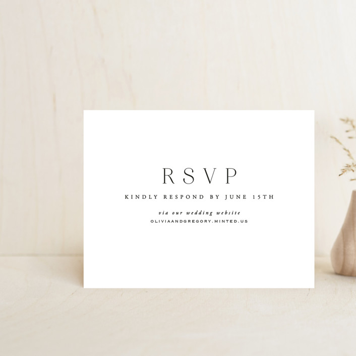"""Classy Type"" - Rsvp Online Enclosure Cards in Lily by Hooray Creative."