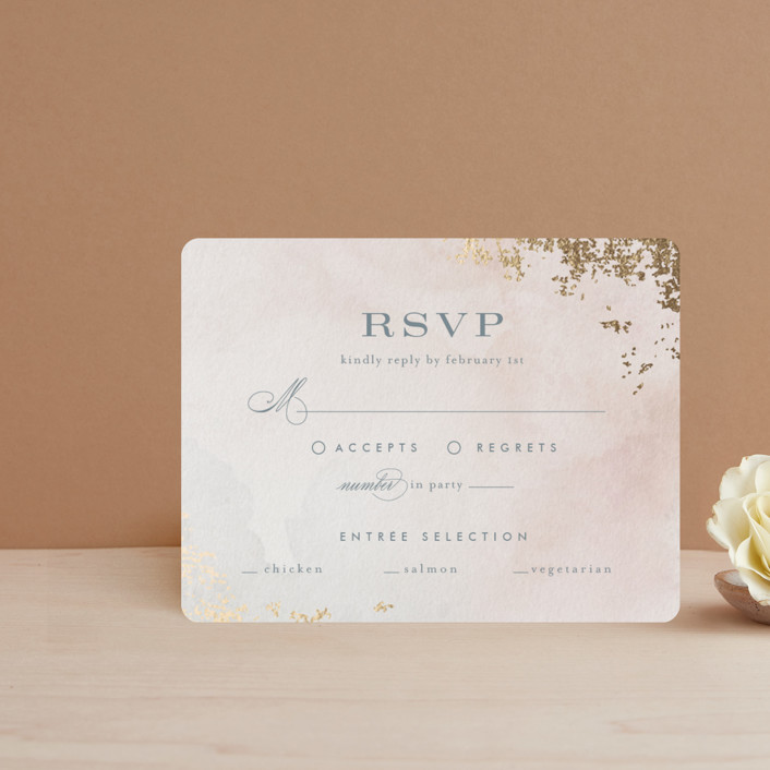 """""""Burnished"""" - Foil-pressed Rsvp Cards in Blush by Heather Cairl."""