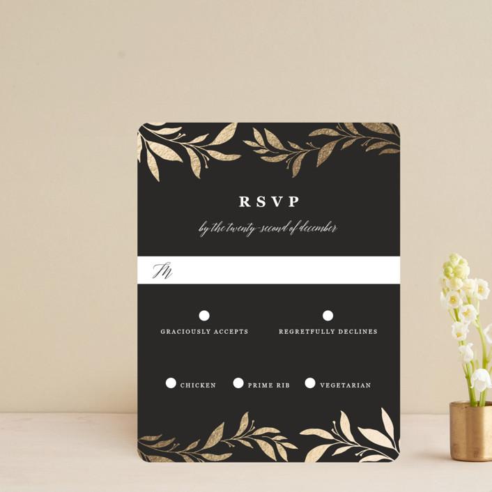 """Mod Wreath"" - Foil-pressed Rsvp Cards in Eclipse by Stellax Creative."