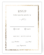 This is a brown rsvp card by Pixel and Hank called Inlay with foil-pressed printing on signature in standard.