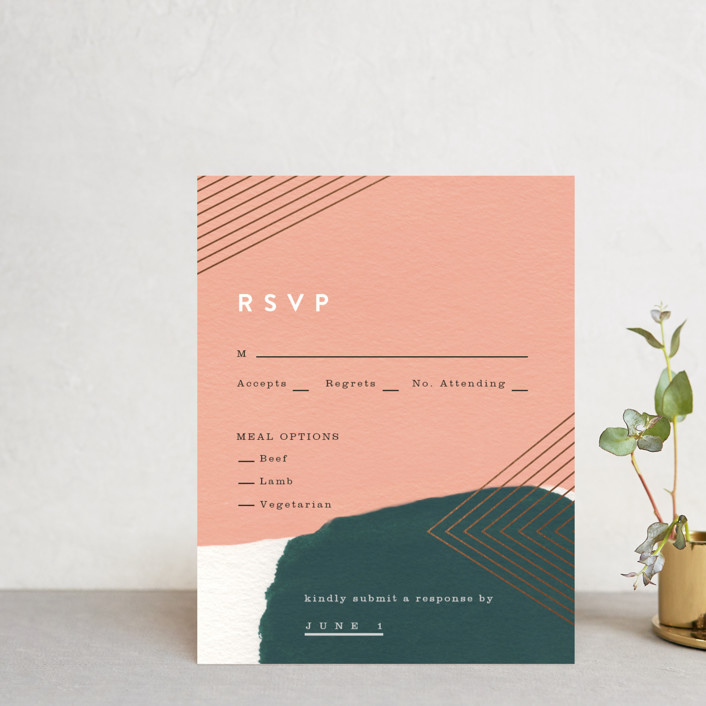 """""""Artful Oneness"""" - Foil-pressed Rsvp Cards in Cactus by Moglea."""