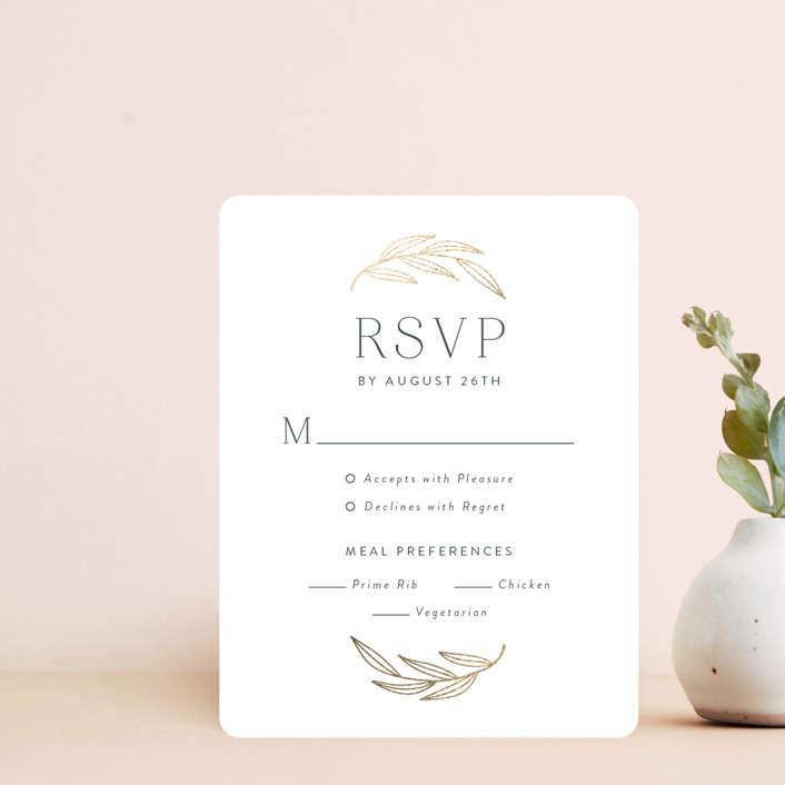 """complete"" - Foil-pressed Rsvp Cards in Juniper by Susan Asbill."