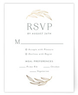 This is a green rsvp card by Susan Asbill called complete with foil-pressed printing on signature in standard.