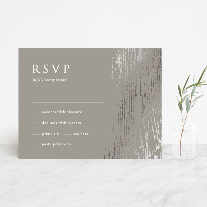 """""""Barn Wood"""" - Foil-pressed Rsvp Cards in Charcoal by Julia Hall."""