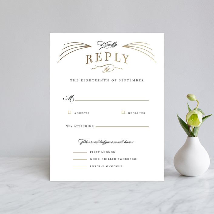"""Arched wedding"" - Foil-pressed Rsvp Cards in Bisque by Jennifer Wick."