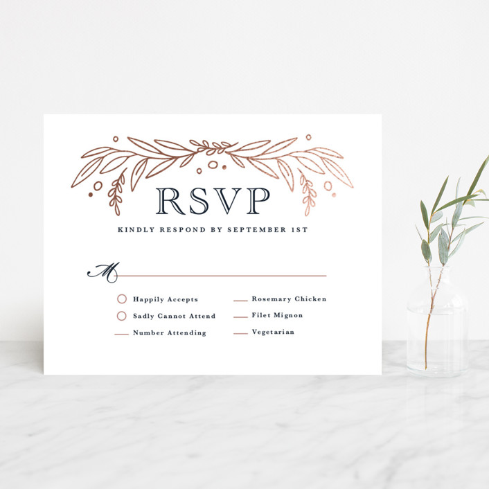 """""""Entwined"""" - Foil-pressed Rsvp Cards in Navy by Kristen Smith."""