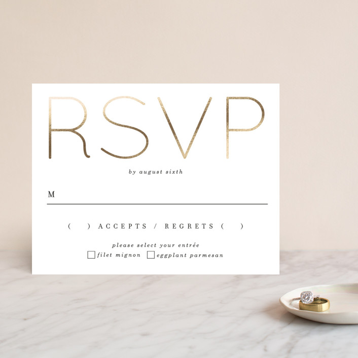 """""""Pencil Thin"""" - Foil-pressed Rsvp Cards in Ivory by Baumbirdy."""
