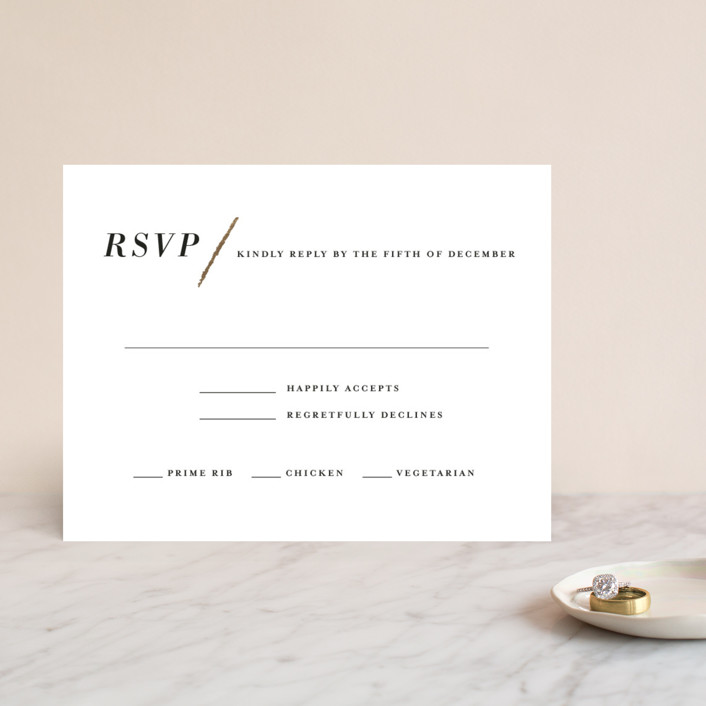 """Minimalist Brush"" - Foil-pressed Rsvp Cards in Cotton by Red Door Design."