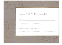 This is a grey rsvp card by Kristie Kern called Marais with foil-pressed printing on signature in standard.