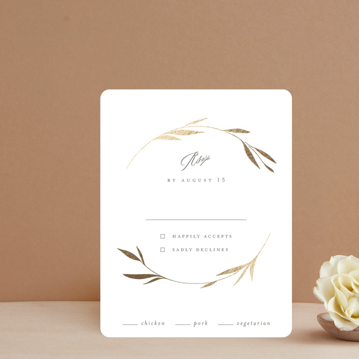 """Minimal Circle"" - Foil-pressed Rsvp Cards in Moss by Kelly Schmidt."