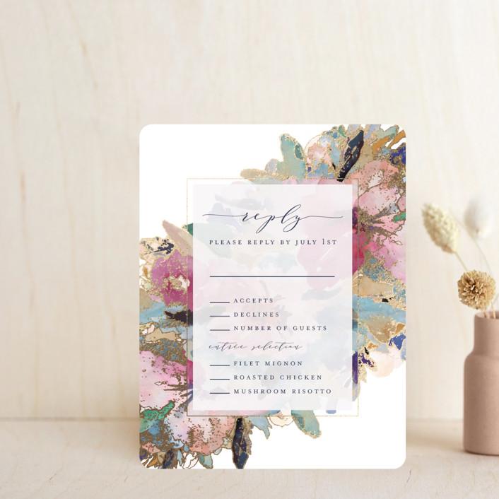 """""""Gilded Drape"""" - Foil-pressed Rsvp Cards in Fruitcake by Grace Kreinbrink."""