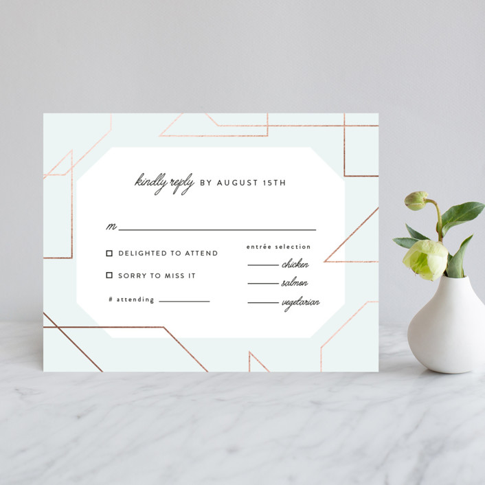 """""""Garbo"""" - Foil-pressed Rsvp Cards in Mint by carly reed walker."""